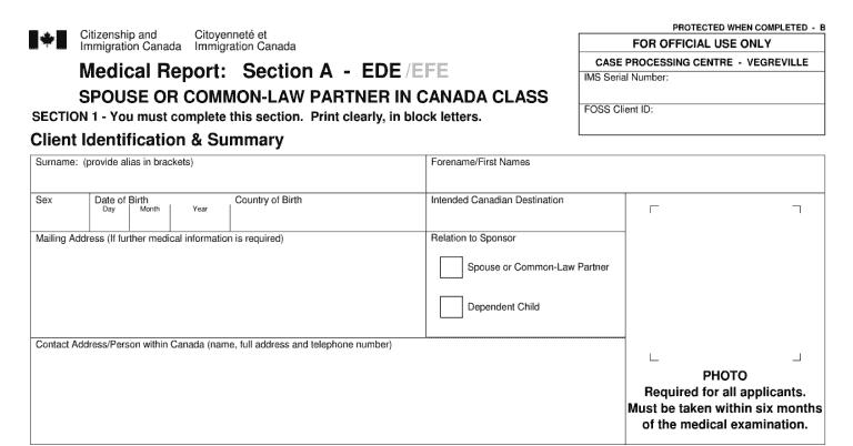 Phần đầu mẫu đơn IMM 1017 dành cho người có gia đình